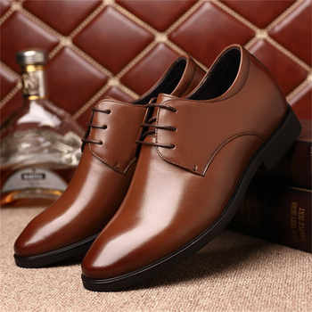 MEIL Brand Height Increasing 6CM Man Pointed Toe Dress Shoes Mens Genuine Leather Wedding Shoes Oxford Formal Shoes Men 2019