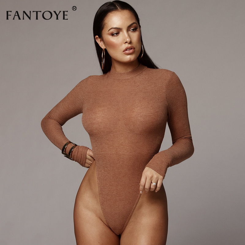 Fantoye Winter Ribbed Knitted Sexy Bodysuit Women Long Sleeve Autumn Skinny Cotton Rompers Womens   Jumpsuit   Bodysuits Tops
