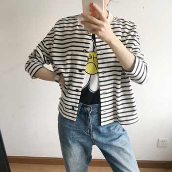 Women Jacket 2019 Spring black white Striped Coat with little star sequined - DISCOUNT ITEM  21% OFF Women\'s Clothing