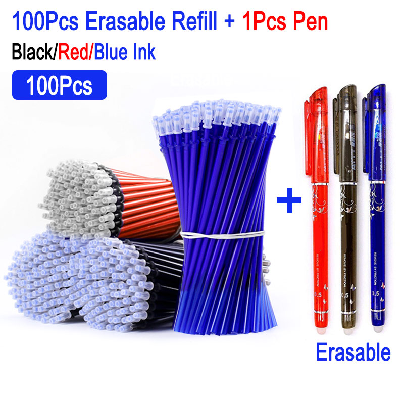 DELVTCH 100Pcs/Set 0.5MM Gel Pen Erasable Refill Rod Magic Erasable Pen Accessory Blue Black Ink Stationery Writing Tools Gifts