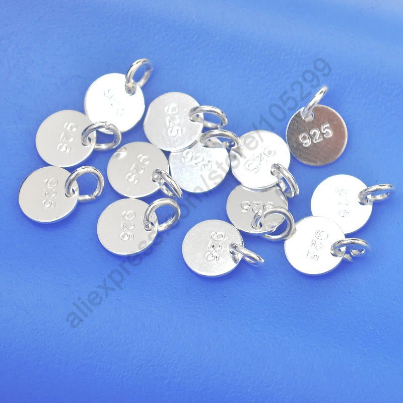 JEXXI Jewelry Findings Disk Wholesale 100PCS 925 Sterling Silver Flat Components+Jump Ring For Necklaces Bracelets