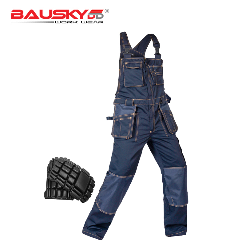 High quality Men work coveralls multi functional pockets jumpsuits working uniforms Bib overalls workwear