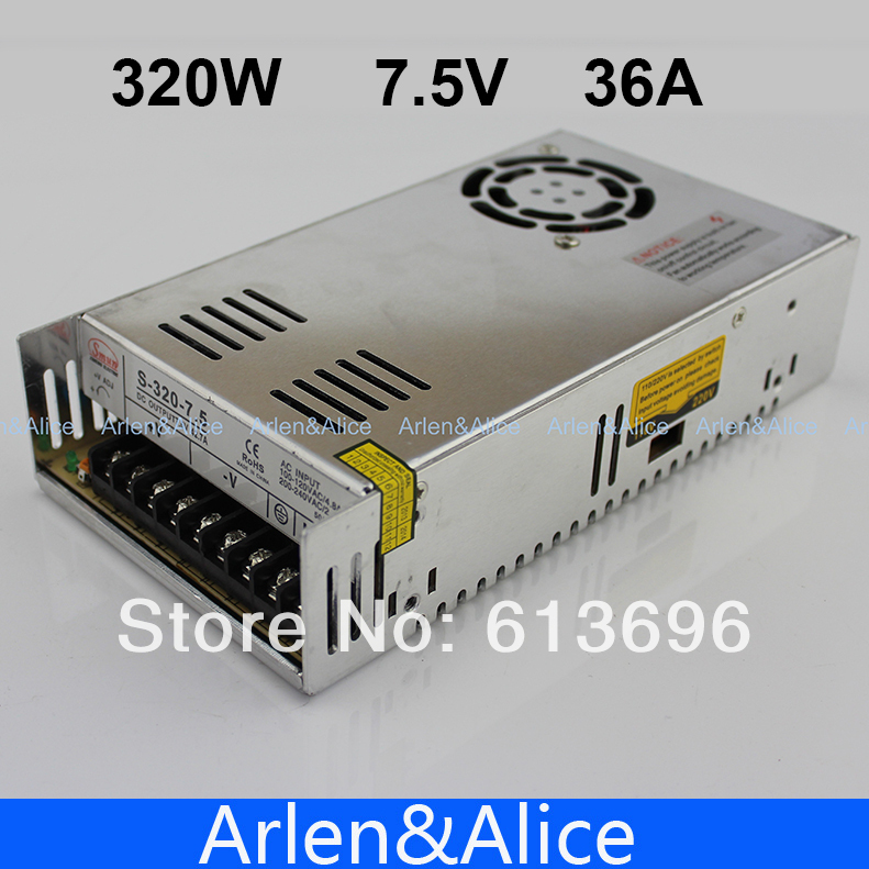 320W 7.5V 36A Single Output Switching power supply for LED Strip light AC to DC 110V 200V selected by switch 20w 24v 1a ultra thin single dc output switching power supply for led strip light smps