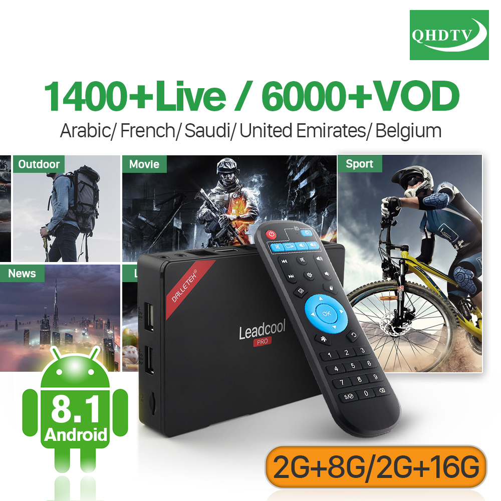 Arabic France Subscription IPTV Leadcool Pro RK3229 Android 8.1 2G+8G 2G+16G Belgium Dutch QHDTV IPTV 4K Decoder 1 Year Box цена