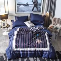 Синий в полоску лист наволочку Стёганое одеяло наборы супер мягкие постельное белье King queen Размеры Постельное белье