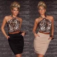 New Fashion Casual Bodycon Mini Dress 3S2176 Free Shipping Sexy Leopard Top Halter Dress Fashion Halter