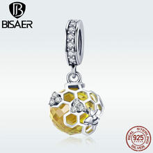 BISAER Original Design Charms 925 Sterling Silver Honeycomb Pendant Charm fit for Luxury Brand Snake Bracelet Jewelry GXC879(China)