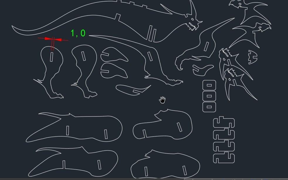 Ben noto Dinosauro drago orientale DWG CAD file di disegno per cnc di  JY55