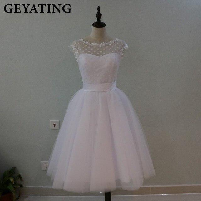 Vintage 1950\'s Polka Dotted Short Wedding Dress Tea Length Little ...