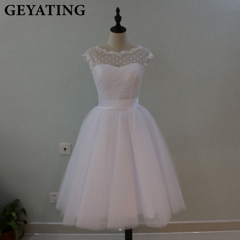 Vintage 1950's Polka Dotted Short Wedding Dress Tea Length Little White Dresses 2017 Vestidos de Novia Beach Bridal Gowns