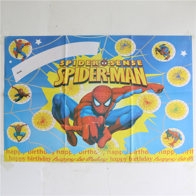 Wall Poster Setter Party Supplies 1pcslot Background Wallpaper Birthday Spider Man Cartoon