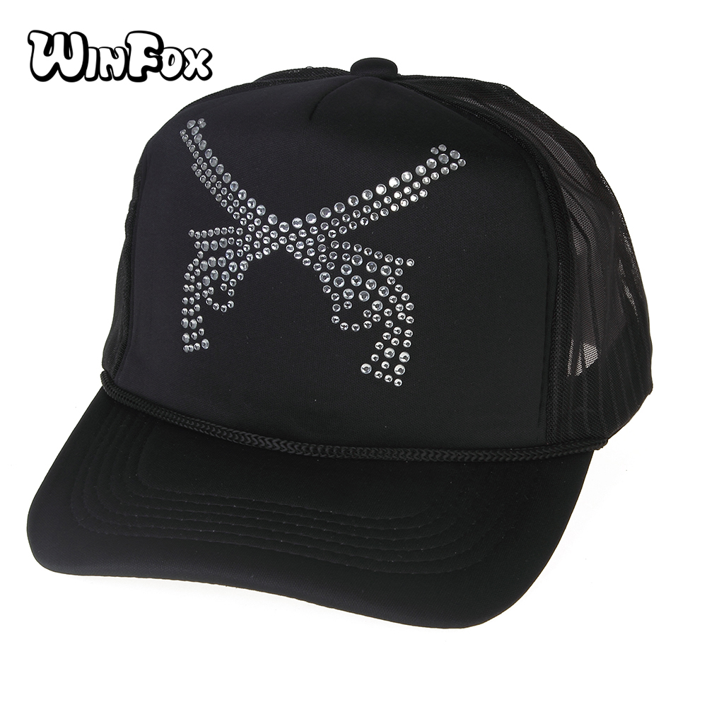 WINFOX 2017 New Punk Brand Black Double Gun Rhinestones Mesh Baseball Hats For Mens Boys Kids