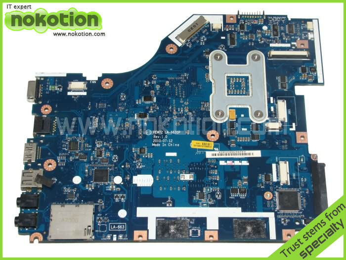 NOKOTION Laptop Motherboard for ACER 5336 series MBR4G02001 PEW72 LA-6631P Mainboard INTEL GL40 GMA 4500M DDR3 Mother Board 4743 laptop motherboard 4