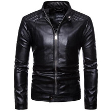 New Motorcycle Black Retro Motorcycle Jackets Men PU Leather Jacket Punk Classical Zipper Windproof Moto Jacket Motorcycle