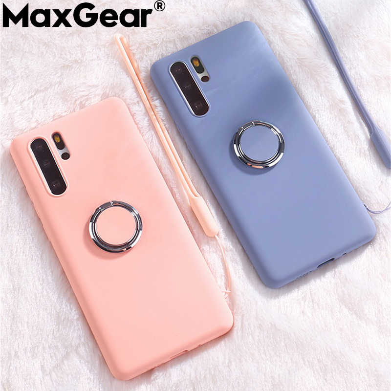 Liquid Silicone Holder Ring Cases For SamSung Galaxy S8 S9 S10 Plus S10E Note 9 A7 2018 A10 A20 A30 A40 A50 A70 2019 Stand Cover