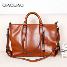 QIAOBAO Genuine Leather Handbags Women Fashion Real Leather Tote Women Bags Shopping Famous Brands Shoulder Bags