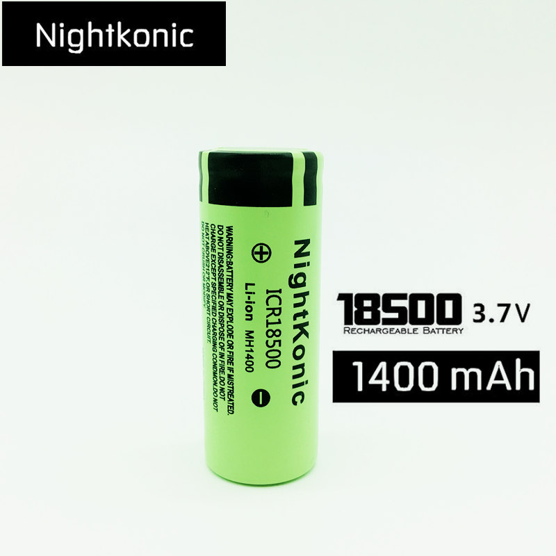 NIGHTKONIC ICR <font><b>18500</b></font> <font><b>Battery</b></font> <font><b>3.7V</b></font> 1400mAh <font><b>li</b></font>-<font><b>ion</b></font> Rechargeable <font><b>Battery</b></font> Green image