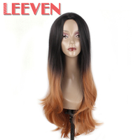 Leeven 26 Synthetic Hair Cosplay Wigs Straight Ombre Burgundy For Black Women None Lace Front High