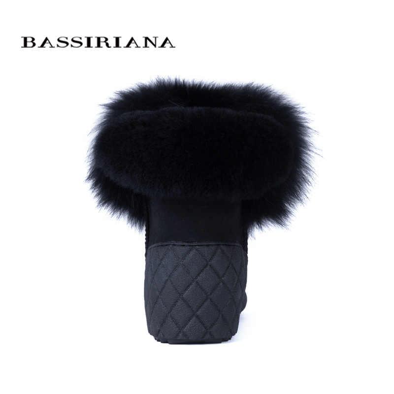 BASSIRIANA yeni 2017 hakiki koyun derisi süet sıcak kış ayak bileği kar botları ayakkabı kadın artış astarı kürk yuvarlak ayak 36- 40 boyutu