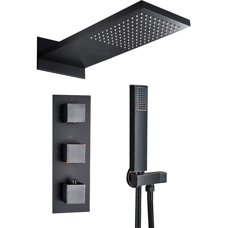 Quyanre Black Thermostatic Shower Faucets Set Rain Waterfall Shower Head With 3 way Thermostatic Mixer Tap
