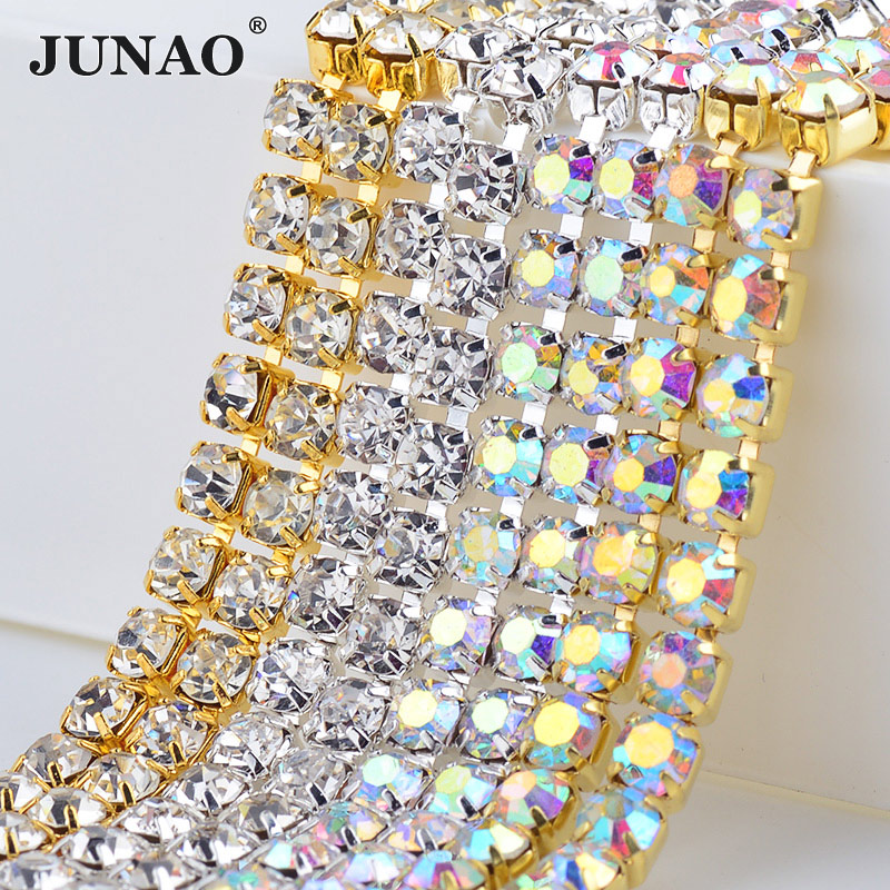JUNAO SS 6 8 10 12 16 18 coser de cristal de Cristal AB diamantes de imitación de plata de cadena de oro densa cadena de la taza de Metal trim Strass de banda