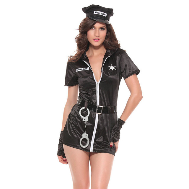 Adult Women Cosplay Costumes Sexy Police Lady Role Playing Short Dress Slim Tight Hot Underwear Exotic Clothes Black