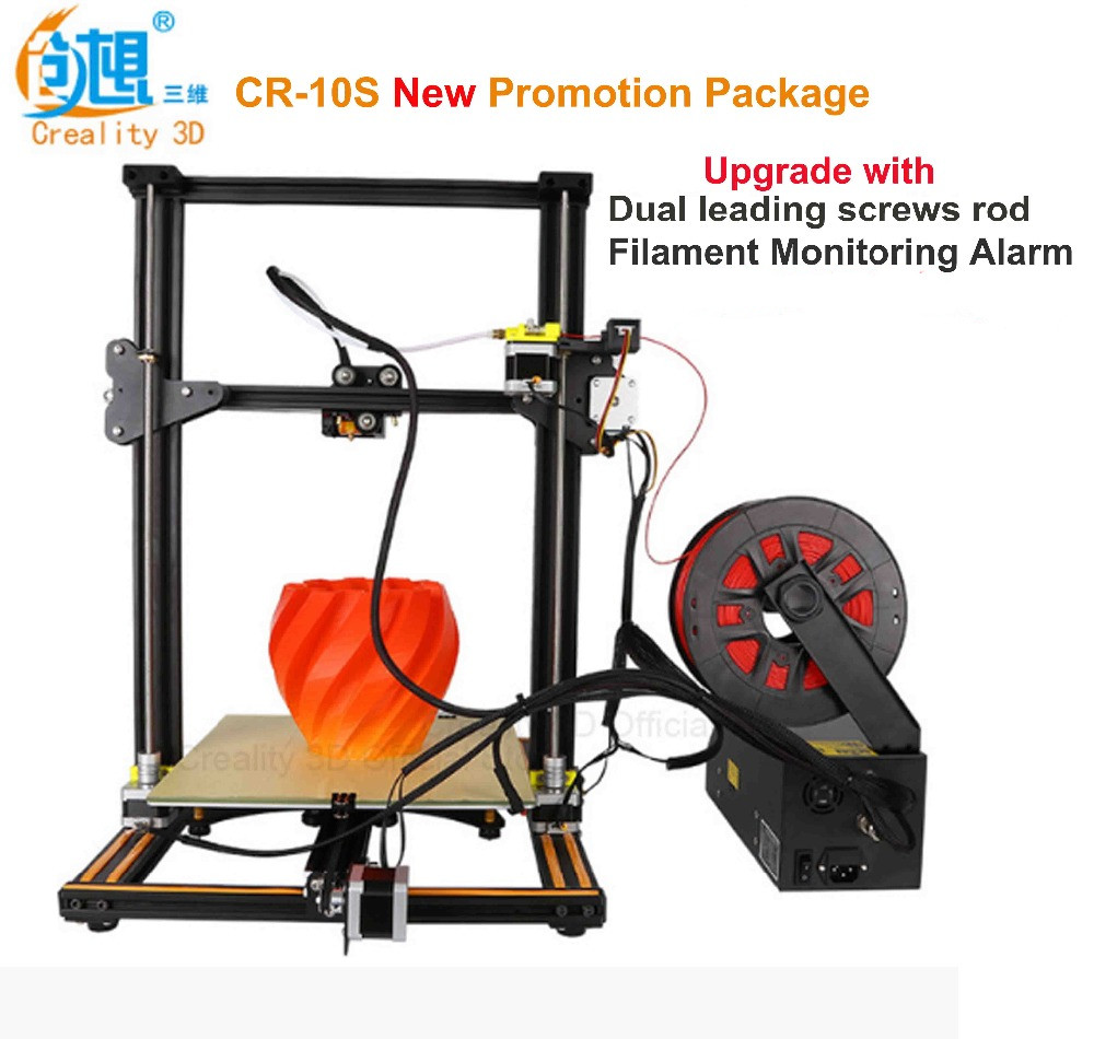 2017 Latest Creality 3D CR-10S Large Printing Size 300mm/400mm/500mm Dual-Leading-Screws Rod DIY Desktop 3D Printer Kit Filament metal frame linear guide rail for xzy axix high quality precision prusa i3 plus creality 3d cr 10 400 400 3d printer diy kit