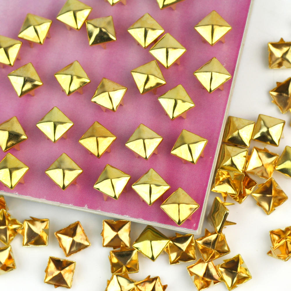 New Design 100pcs Pyramid Metal Gold Studs Spikes Spots Nailheads ...