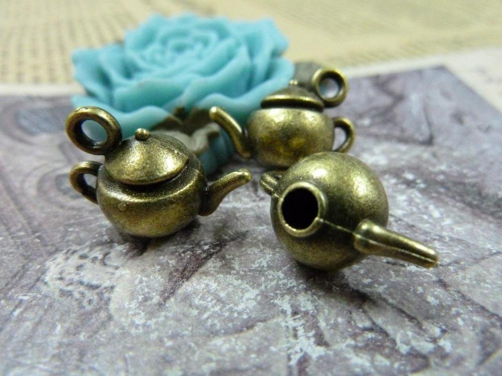 10pcs Wholesale Vintage Jewelry Findings And Components Antique Bronze Teapot Charm DIY Jewelry Making Accessories