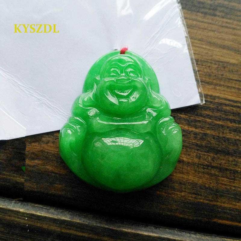 KYSZDL Natural Green Emerald Handmade Maitreya Buddha Pendant Women Buddhism Patron God Jade Necklace Pendant Birthday Gift