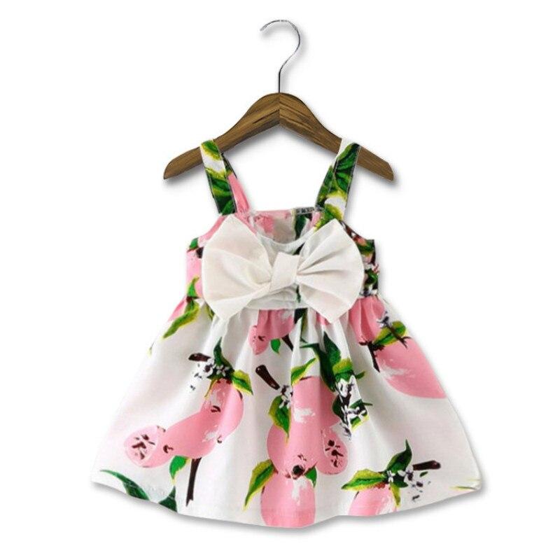 Summer Baby Dress Sleeveless Infant Girl Clothes Lemon Peach Printed Newborn Princess Dress 1 Year Birthday Dress