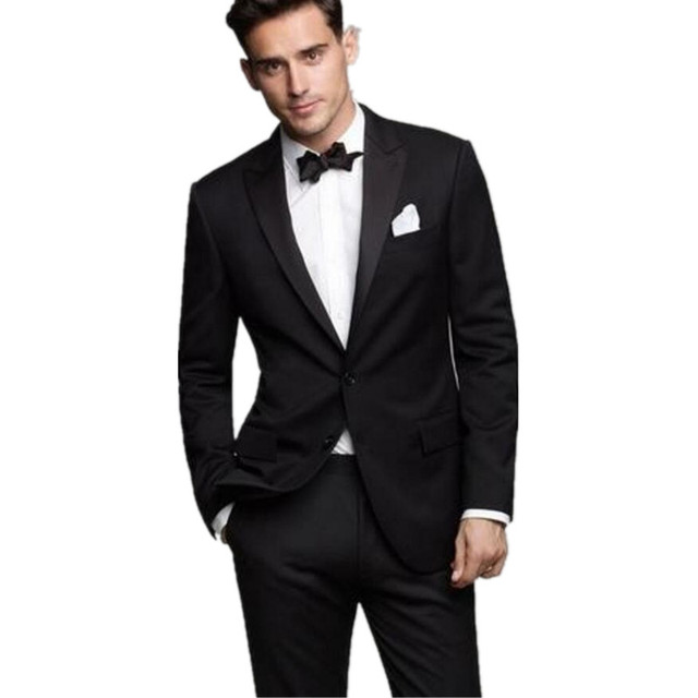 Fashion Suits Black Western Style Male Suits Notched Lapel Two ...