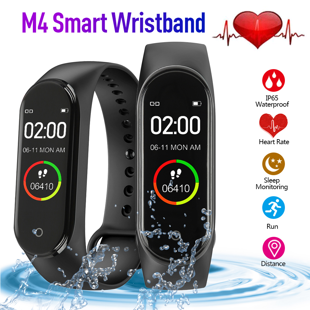 M4 Smart Bracelet Sports Pedometer Color Screen Watch Fitness Running Walking Tracker Heart Rate Pedometer Smart Band