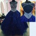 Luxo roya azul longo vestido Quinceanera 2016 crysatl frisado tule vestido de baile butante vestido vestido 15 anos