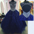 luxury roya blue long Quinceanera dress 2016 crysatl beaded ball gown tulle butante dress vestido 15 anos