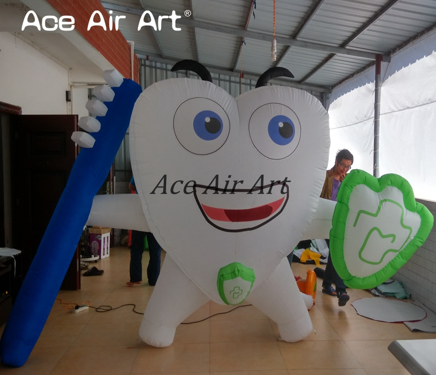 Custom made giant inflatable tooth with toothbrush,Dental advertising and promotion for tooth healthy care image