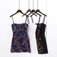 Высококачественное винтажное жаккардовое атласное платье в китайском стиле, тонкое мини-платье на бретельках с открытой спиной, вечерние п...