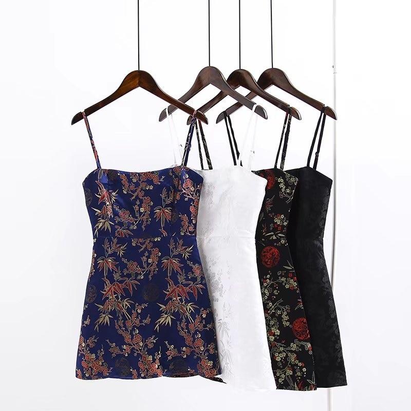 High Quality vintage Chinese style jacquard satin dress slim Spaghetti Strap Halter backless Mini Dress Party dress vestido