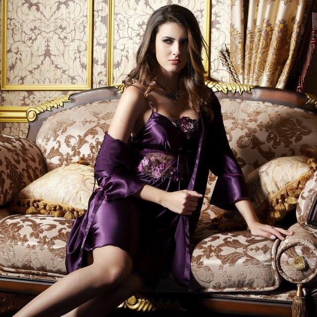 Summer Women Silk Solid Twinset Nightwear Purple Nightgown Robe Sets Women Three Quarter Sleeve V Neck Emulation Silk Nighty