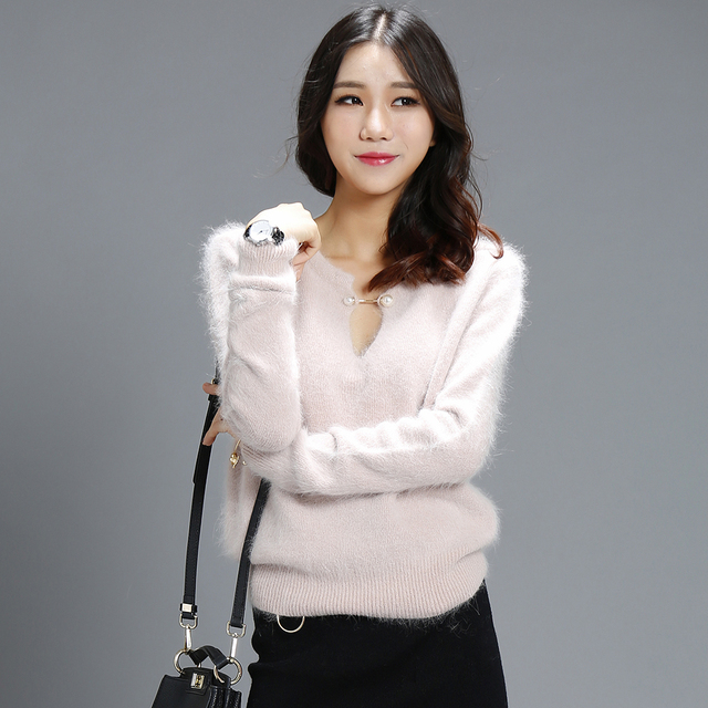 New Arrived TOP quality 100% Mink Cashmere winter thick coat pullovers V neck long sleeve fashion sweaters for women lady's