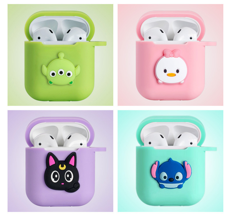 Image 5 - Hello Kitty Melody Mickey Minnie Sesame Street Egg Pattern Silicone Case For Apple Airpods Bluetooth Earphone Bag Cover-in Earphone Accessories from Consumer Electronics