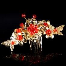 eff056cce519 JaneVini estilo chino tradicional boda oro peinetas joyería cabeza mujeres  horquillas nupcial Headpiece accesorios del pelo del .