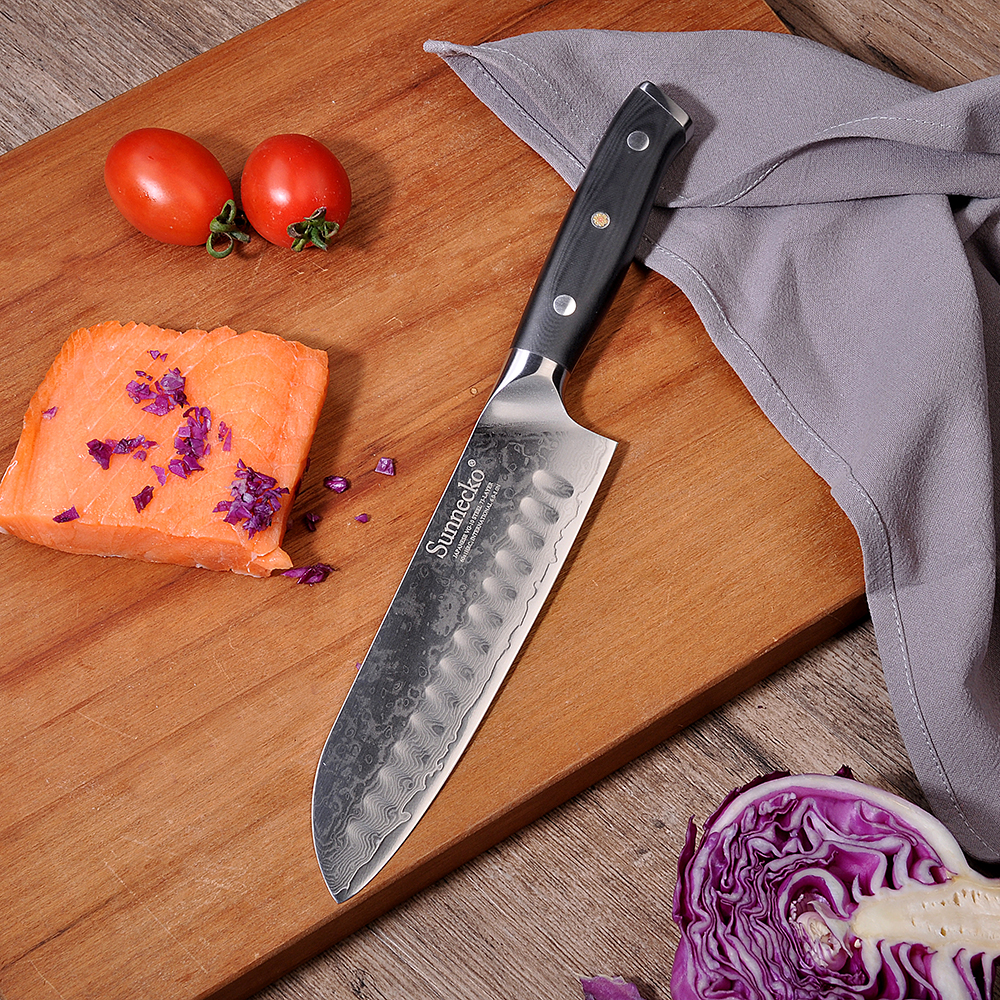 Sunnecko 7 Santoku Knives Stainless Steel Damascus VG10 Blade Slicing Knife G10 Sanding Handle Fruit Meat Chopping Veg Paring