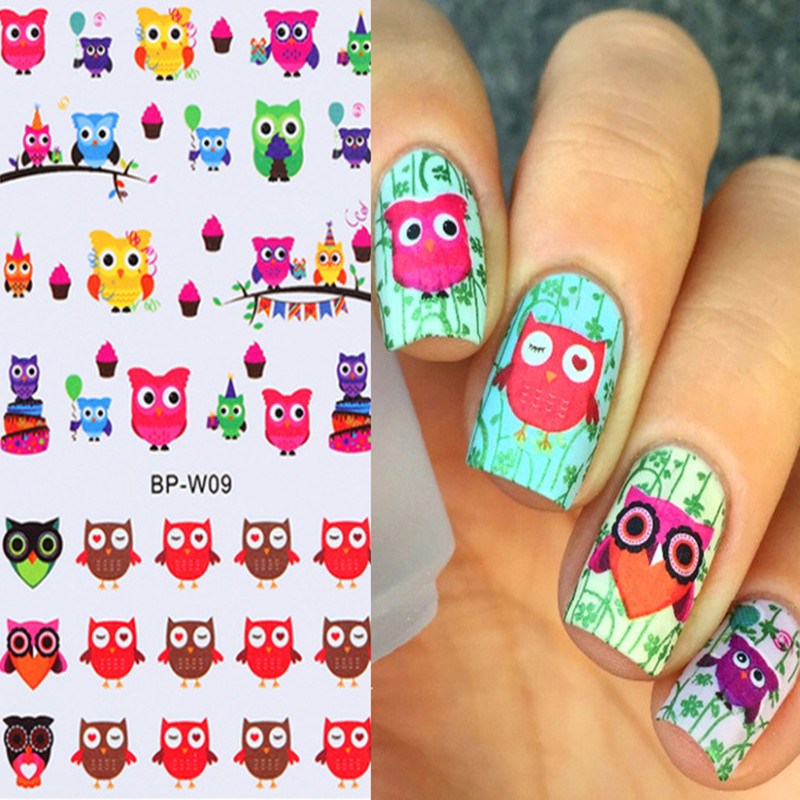BORN PRETTY Cartoon Owl Nail Art Sticker Colorful Water Decals Nail Transfer Stickers DIY Nail Nail Decorations BP-W09 diy japanese cartoon car stickers animation drift sticker printing carving protection film car funny camouflage graffiti decals