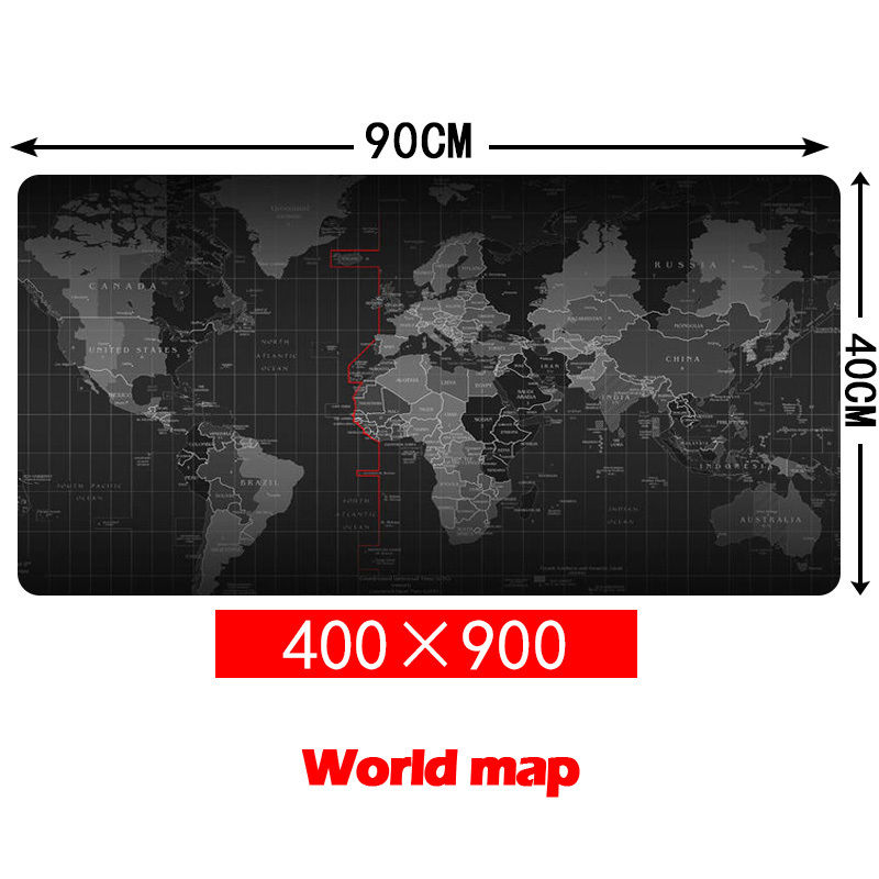 Large Size 900*400MM World Map Speed Game Mouse Pad Mat Laptop Gaming Mousepad Computer Desk Mouse Mat for Gamer stitched edge rubber cs go large gaming mouse pad pc computer laptop mousepad for apple logo style print gamer speed mice mat