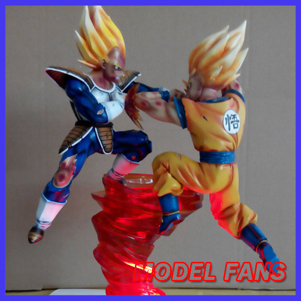 MODEL FANS Dragon Ball ss Vegeta VS ss Goku gk resin statue contain LED light figure for collection model fans dragon ball vkh 32cm goku vs piccolo gk resin statue figure toy for collection