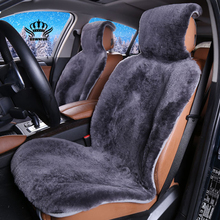 fur capes on the seat of the car of Australian 100% sheepskin shorn fur Mouton premium car seat cover gray for car lada granta