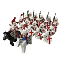 24pcs Knights Templar Medieval Age Castle knights Lion Golden Dragon Slive Hawk Building Block Rome Warrior knight figure