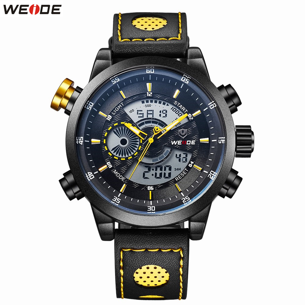 Original Brand Fashion WEIDE Waterproof Sports Watch Men Digital Quartz Watch Alarm LED Dual Time Analog Man Wristwatch Relogios