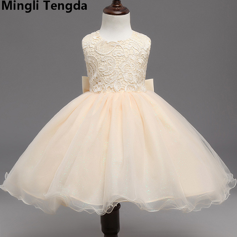 Mingli Tengda Beautiful Lace Flower Girl Dresses with Belt Bow Ball Gown Tulle Communion Dress Pageant Dresses For Little Girls